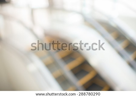 escalator of modern office in blur