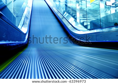 escalator of the subway station in modern building . - stock photo