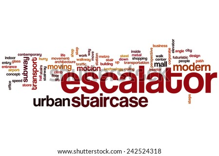 Escalator word cloud concept with staircase transport related tags - stock photo