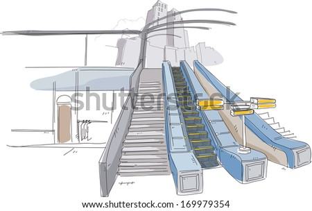 Escalators and stairs leading to a skyscraper.