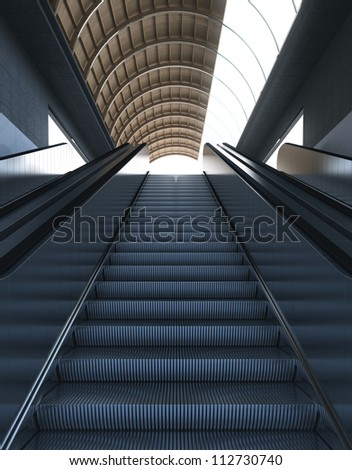 Escalators - Stairs to Modern Bright Ambient - stock photo