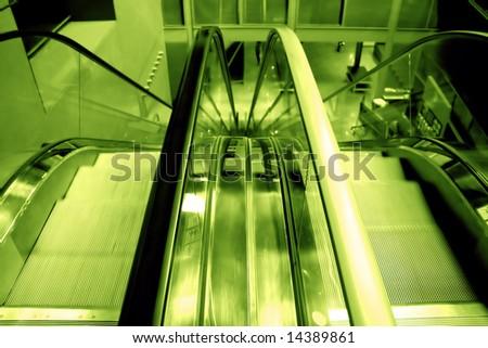 escalators view in a mall - stock photo