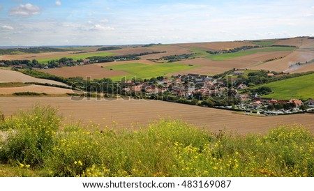 Escalles village with surrounding fields near Cap Blanc Nez, Cote d'Opale, Pas-de-Calais, France