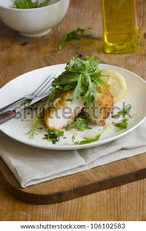 Escalopes of chicken with rocket, sage and lemon