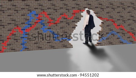 Escape concept - businessman ends stock market trading - stock photo