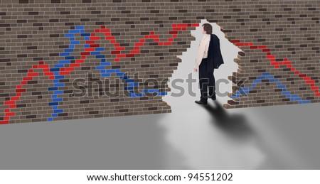 Escape concept - businessman ends stock market trading - stock photo