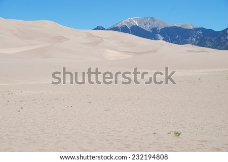 Escape dunes and Mount Herard seen in Great Sand Dunes National Park, CO, USA - stock photo