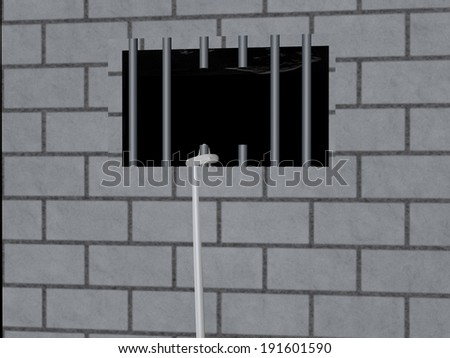 Escape from jail with rope, 3d render - stock photo