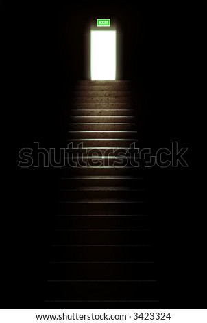 escape from the darkness - stock photo