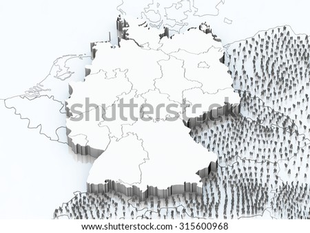 Escape to Germany Germany map with neighboring countries and many people who wish to Germany. - stock photo