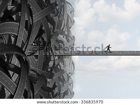 Escape way as a businessman finding the solution path to leave the confusion of a group of tangled roads  finding a path to freedom. - stock photo