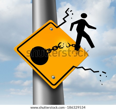 Escaping to freedom business concept as a businessman symbol on a traffic sign breaking free from a ball and chain as a success metaphor of a new career or conquering adversity and emotional stress. - stock photo