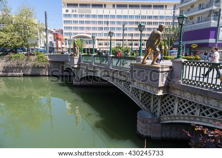 ESKISEHIR, TURKEY - APRIL 16, 2016 : View of Porsuk river with a bridge on flowing along Eskisehir.