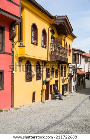 ESKISEHIR, TURKEY - MARCH 25, 2014:Historical Homes and street from Odunpazari, in Eskisehir  Turkey on march 25 2014