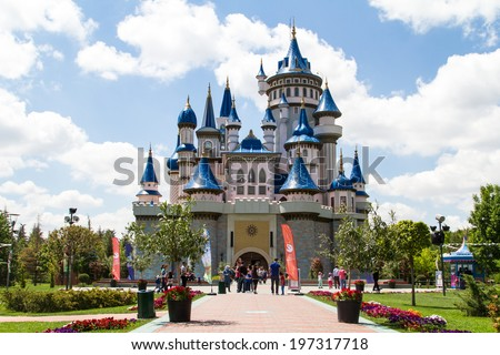 ESKISEHIR, TURKEY - MAY 25, 2014: Fairytale castle in Sazova Park, Eskisehir. - stock photo