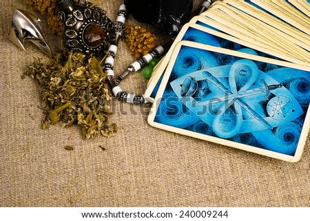 Esoteric still life with copy space - stock photo