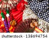 Espana typical from Spain with castanets rose fan comb bullfighter and flamenco dress - stock photo