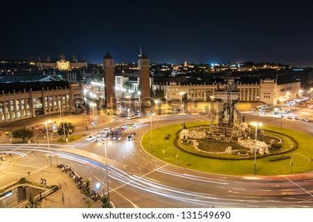 Espanya Square in Barcelona and National Palace at night - stock photo