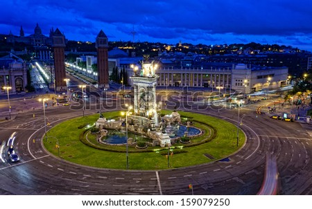 Espanya Square in Barcelona and National Palace at night, top view - stock photo