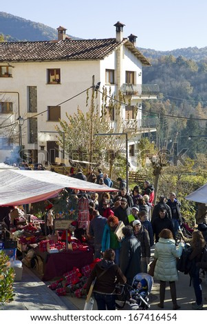 ESPINELVES, SPAIN - DECEMBER 6: People visit the famous Fir Tree Fair to buy fir trees and other Christmas decoration for the upcoming festive season, on December 6, 2013, in Espinelves, Spain.