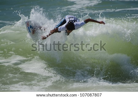ESPINHO, PORTUGAL - JULY 08: Diogo Abrantes in the Exile Skim Norte Open 2012 on july 08, 2012 in Espinho, Portugal.