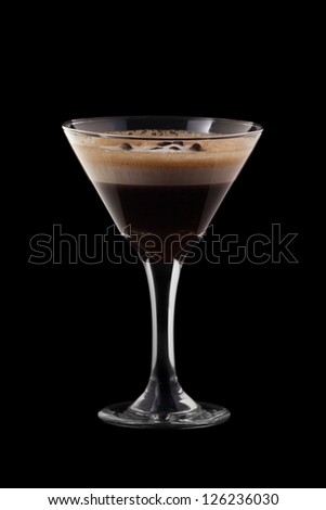 Espresso-Absinthe coctail isolated on black background - stock photo