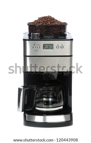 Espresso and americano coffee machine maker with coffee grinder on top isolated on a white background - stock photo