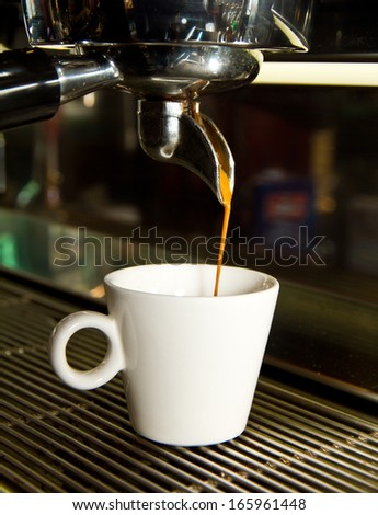 Espresso being made - stock photo