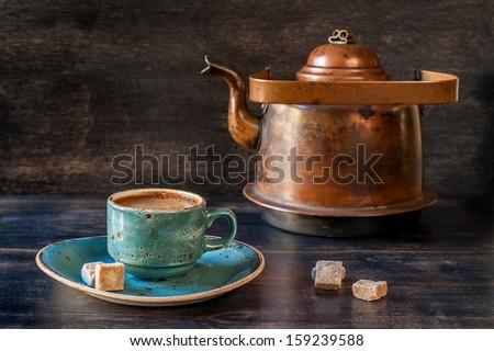 Espresso coffee  and a vintage coffee pot  - stock photo