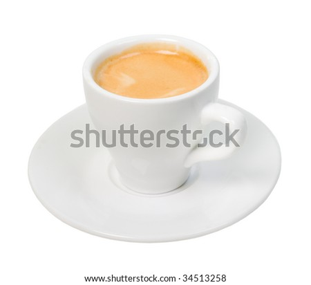 espresso coffee . Cup of coffee on a white background (isolated with path).