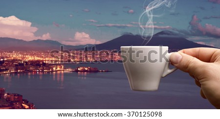 Espresso coffee cup, the original Neapolitan coffee over the Gulf of Naples. - stock photo