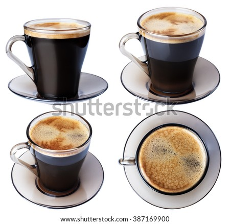 Espresso coffee in a glass dish, isolate on a white background, closeup in a variety of ways. - stock photo