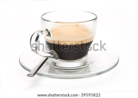 Espresso Coffee in a glass mug on a white background