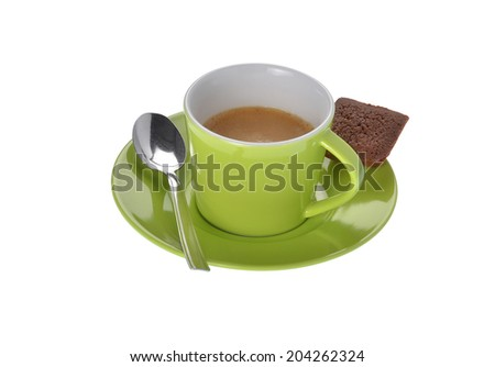 espresso cup with silver spoon and cake on white background - stock photo