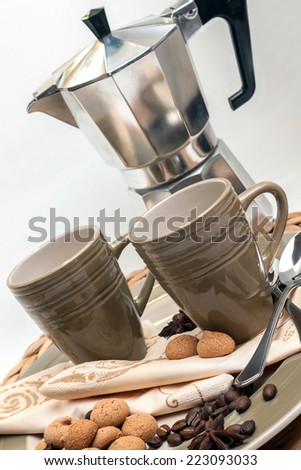Espresso dishes and espresso machine with decoration and pastry