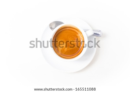 Espresso hot coffee cup,isolated on white background - stock photo