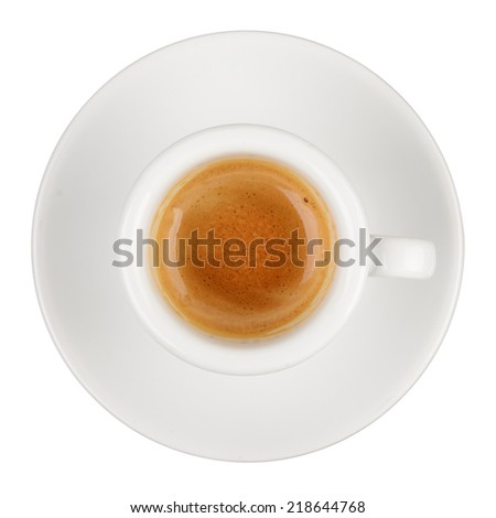 Espresso hot coffee cup isolated on white background - stock photo