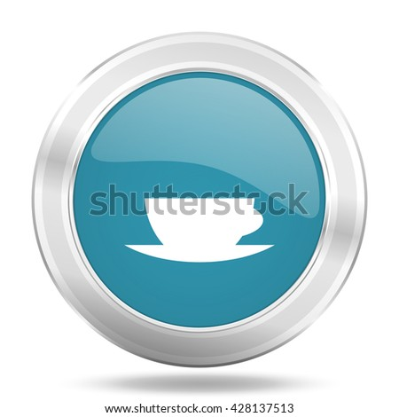 espresso icon, blue round metallic glossy button, web and mobile app design illustration