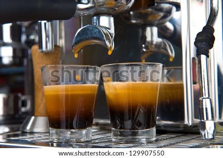 espresso in glassware - stock photo