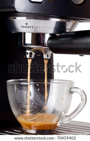 Espresso machine brewing a coffee espresso - stock photo