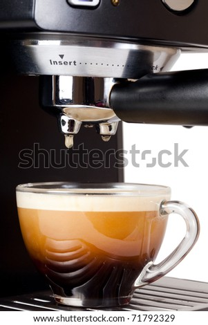 Espresso machine brewing a coffee espresso - stock photo