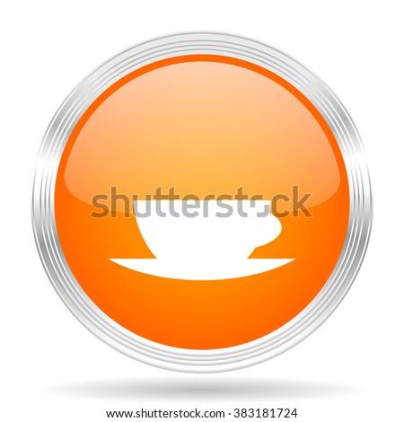 espresso orange silver metallic chrome web circle glossy icon
