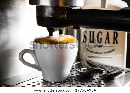 espresso preparation - stock photo