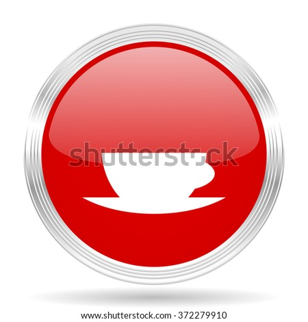 espresso red glossy circle modern web icon on white background