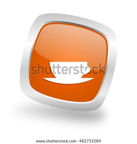 espresso square glossy orange chrome silver metallic web icon
