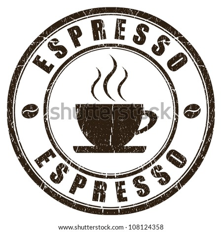 Espresso stamp isolated on white - stock photo