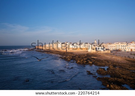 Essaouira Fortress, Morocco. Essaouira is a city in the western Moroccan economic region of Marrakech Tensift Al Haouz, on the Atlantic coast. It has also been known by its Portuguese name of Mogador. - stock photo