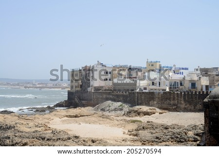 Essaouira in Morocco city walls by the atlantic ocean - stock photo