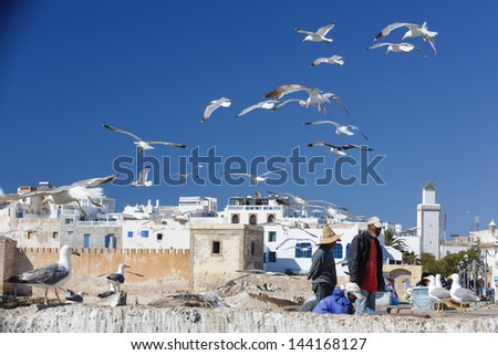 ESSAOUIRA, MOROCCO - JUNE 8 : Fishermen prepare the seafood before selling in the harbor, in Essaouira, Morocco on June 8, 2013. Essaouira is one of the most touristic place in Morocco.
