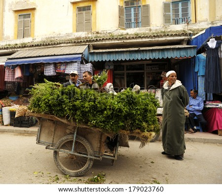 ESSAOUIRA,MOROCCO-May 10:Moroccan seller sells mint on the streets of Essaouira on May 10,2011